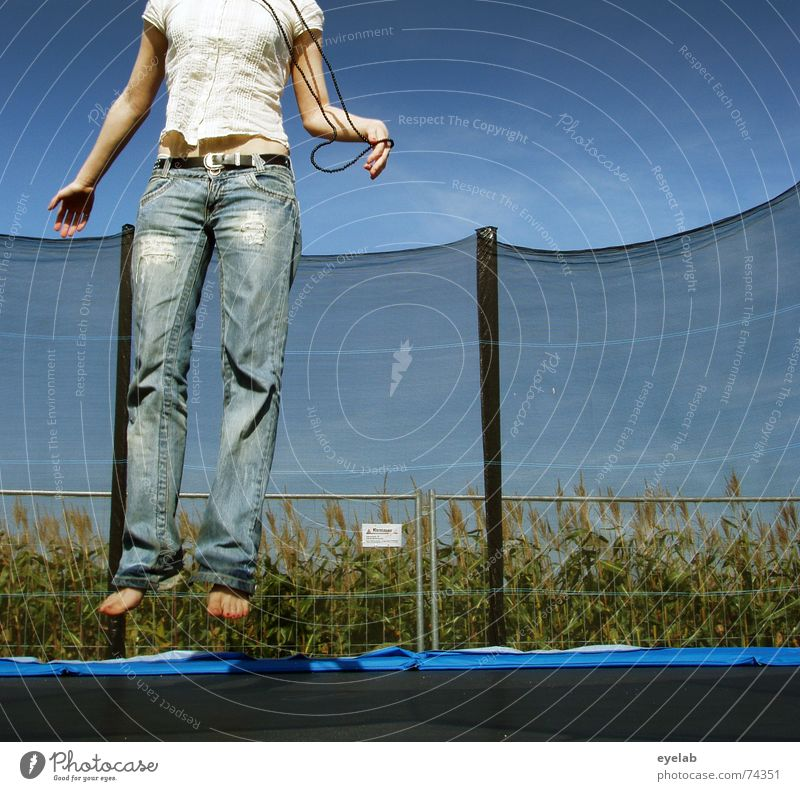 Sky Blue Summer White Joy Black Legs Jump Field Arm Hope Longing Fence Jeans Grain Trampoline