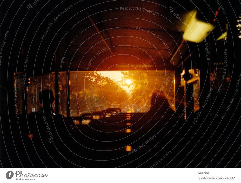 commuting distance Morning Sunrise Crematorium Upper deck Dark Winter Flashy Bus live in peace Bus travel Orange