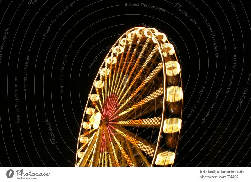The wheel turns again III Fairs & Carnivals Ferris wheel Vantage point Night Light Lighting wonder wheel Movement Joy