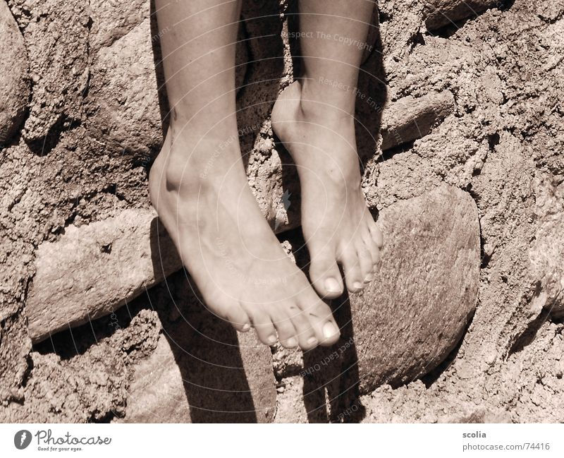 Summer Relaxation Wall (building) Stone Wall (barrier) Feet Break