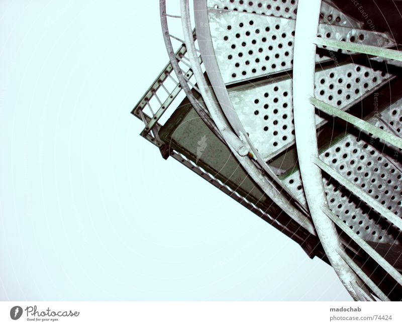 Sky Blue Clouds Freedom Flying Above Bright Metal Weather Stairs Tall Circle Corner Beautiful weather Infinity Handrail