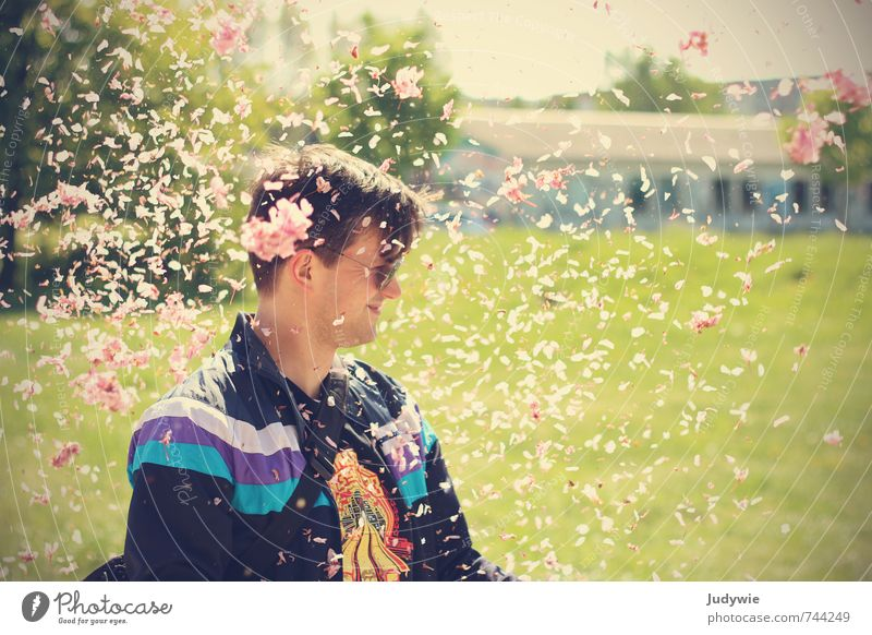 Yeah, petal confetti rain! Joy Happy Well-being Contentment Feasts & Celebrations Human being Masculine Young man Youth (Young adults) Man Adults 18 - 30 years