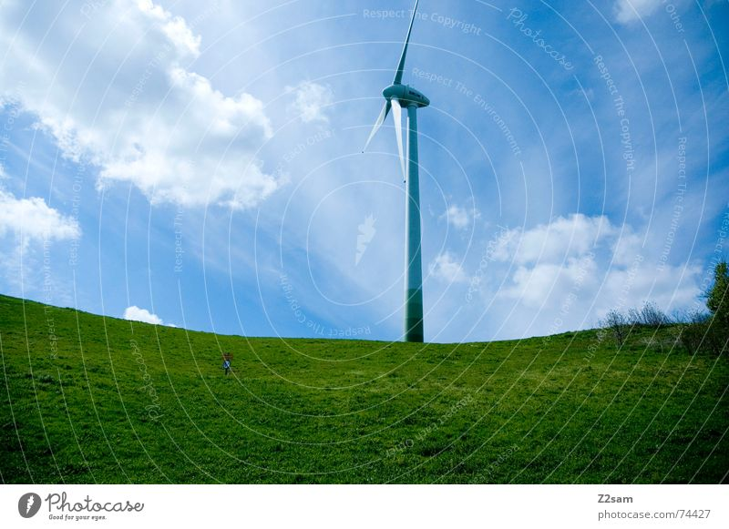 highest point Meadow Green Summer Clouds Tall Blue Sky Wind energy plant Power Nature landscape Mountain