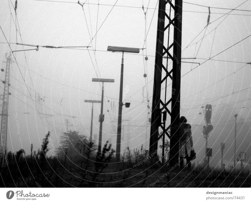 still waiting on the platform Bensheim Gray Fog Cold Black Dark White Railroad Platform Stand Coat Morning Late Time Gloomy Railroad tracks Grief Lateness