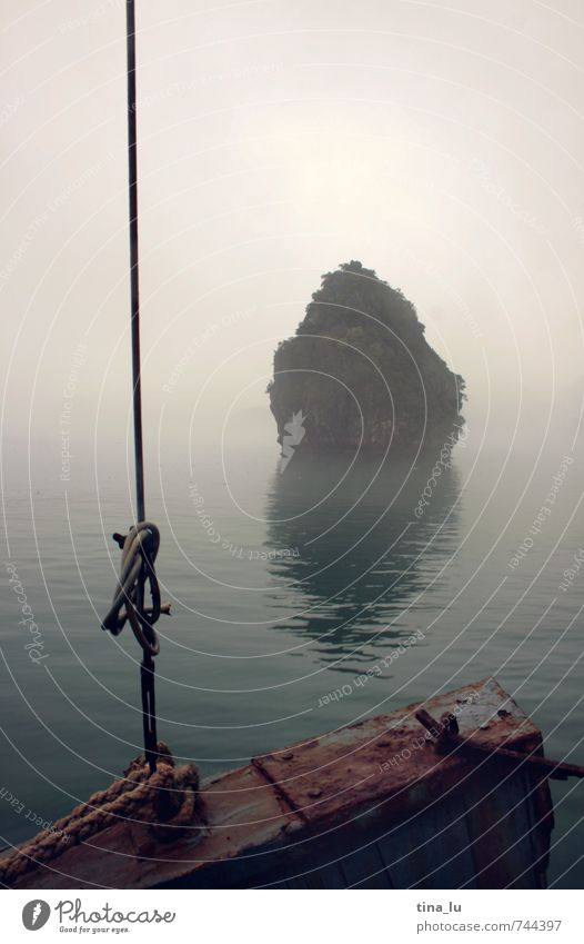 Halong Bay VI Environment Bad weather Fog Rock Ocean South China Sea Vietnam Asia South East Asia Halong bay Island Watercraft Rope rock in the surf