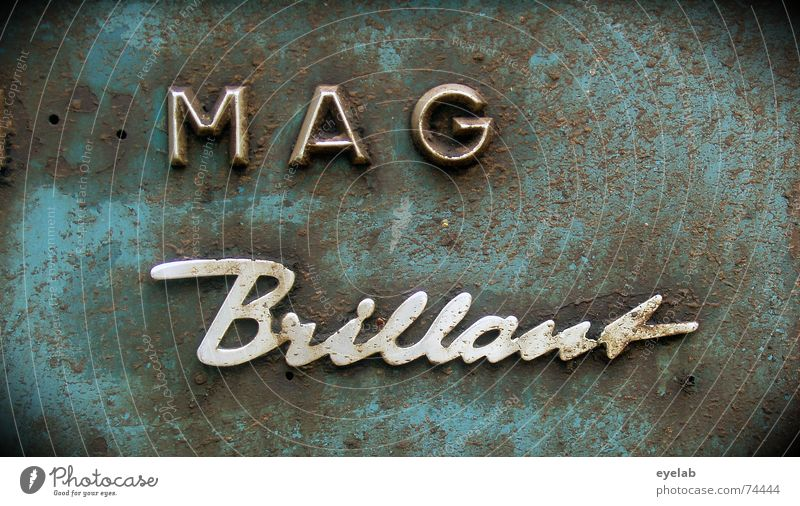 Eppel Magintosh Brilliant 1954 Chrome Steel Typography Gray Rust Grunge Tin Tractor Agriculture Machinery Letters (alphabet) Historic Characters Blue grey Old