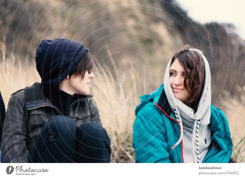 Beautiful Relaxation Calm Cold Love Feminine Gray Laughter Happy Brown Together Sit Poverty Smiling Communicate Hope