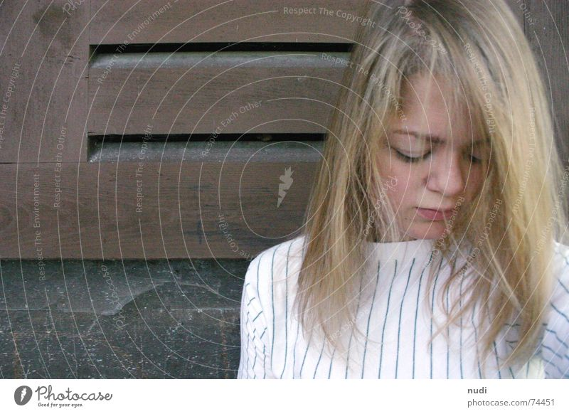 just be V Woman Girl Thought Shutter House wall House (Residential Structure) Sweater Wall (barrier) Dreamily Dust Spider's web Grief Think Nature Hut