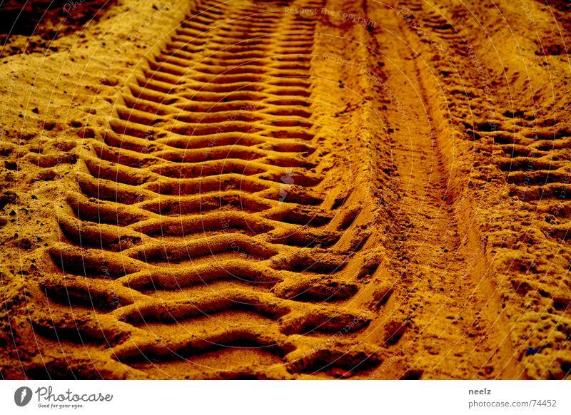 Yellow Sand Gold Construction site Tracks Beige Excavator Relief Ochre