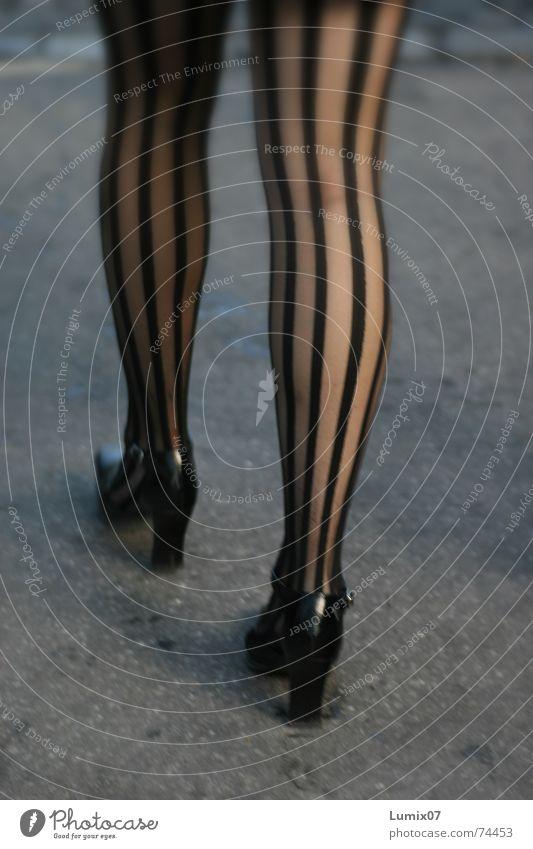 bene Woman Striped Black High heels Long Fetishism Legs silk stockings