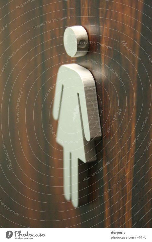 girls club Symbols and metaphors Brown Interior shot Mirror Wood wc girl Toilet Silver Door Macro (Extreme close-up)