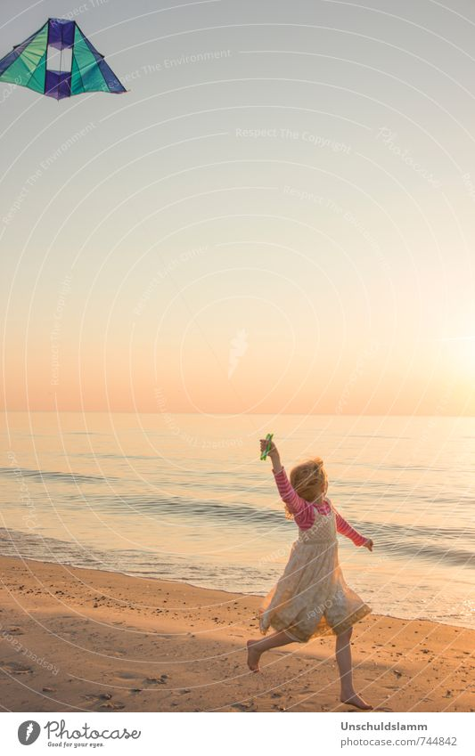 Human being Child Vacation & Travel Beautiful Summer Girl Joy Far-off places Beach Life Movement Playing Happy Lifestyle Idyll Infancy