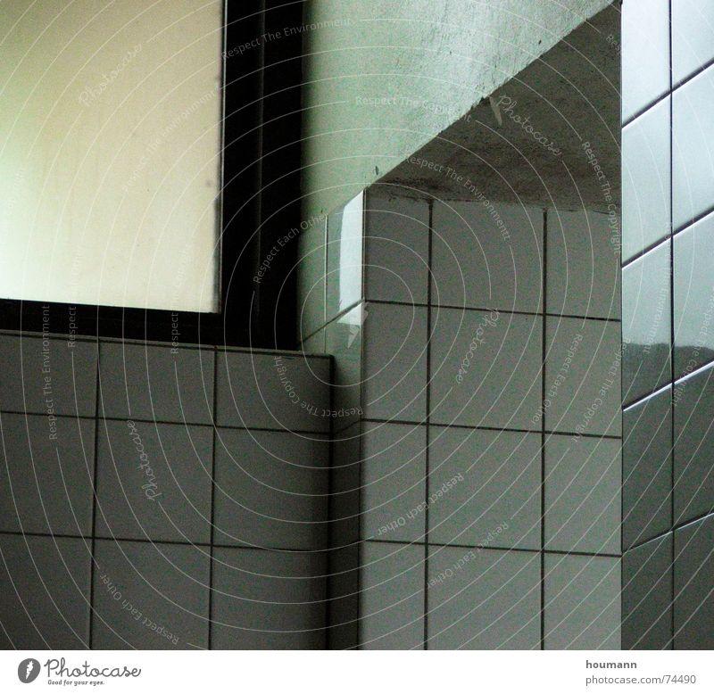 Green reflex Wall (building) Window Bathroom White Mirror Cold Corner Tile Reflection tiles corners Wall (barrier)