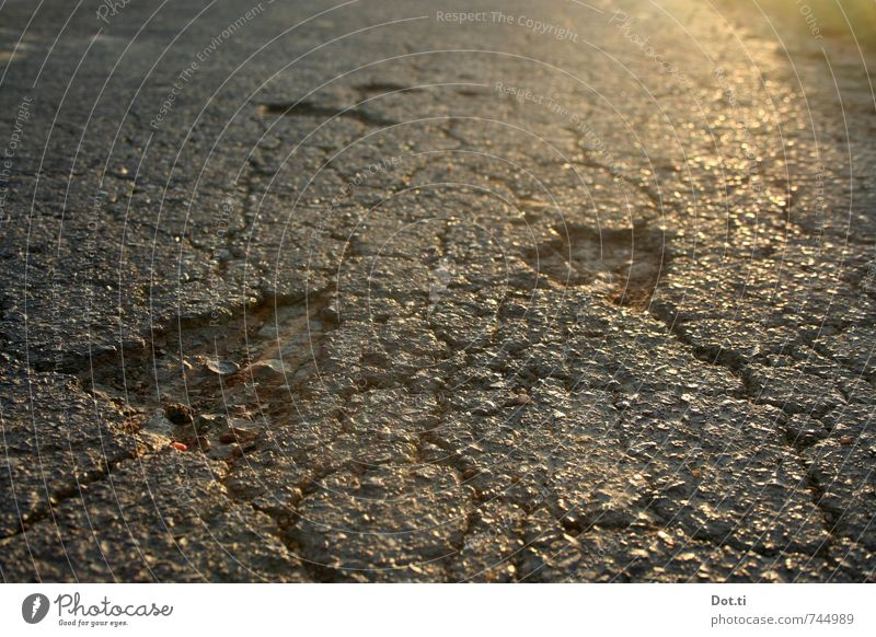 Hole to hole, and yet holds Traffic infrastructure Street Broken Decline Destruction Asphalt Pavement Hollow Crack & Rip & Tear frost damages road damages