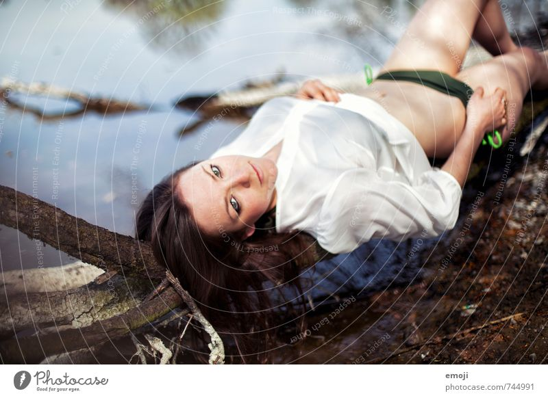 Human being Youth (Young adults) Summer Young woman 18 - 30 years Eroticism Adults Feminine Lie Lakeside