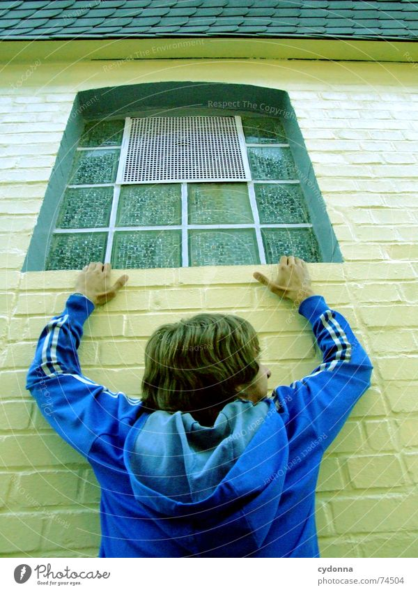 Human being Man Window Wall (building) Wall (barrier) Power Fear Dangerous Action Perspective Threat To hold on Jacket Hang Rescue Panic