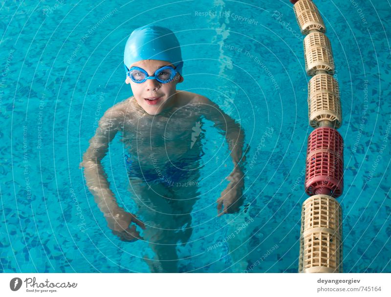 Little boy in swimming pool Child Vacation & Travel Blue Summer Joy Boy (child) Sports Playing Small Happy School Leisure and hobbies Action Infancy Happiness