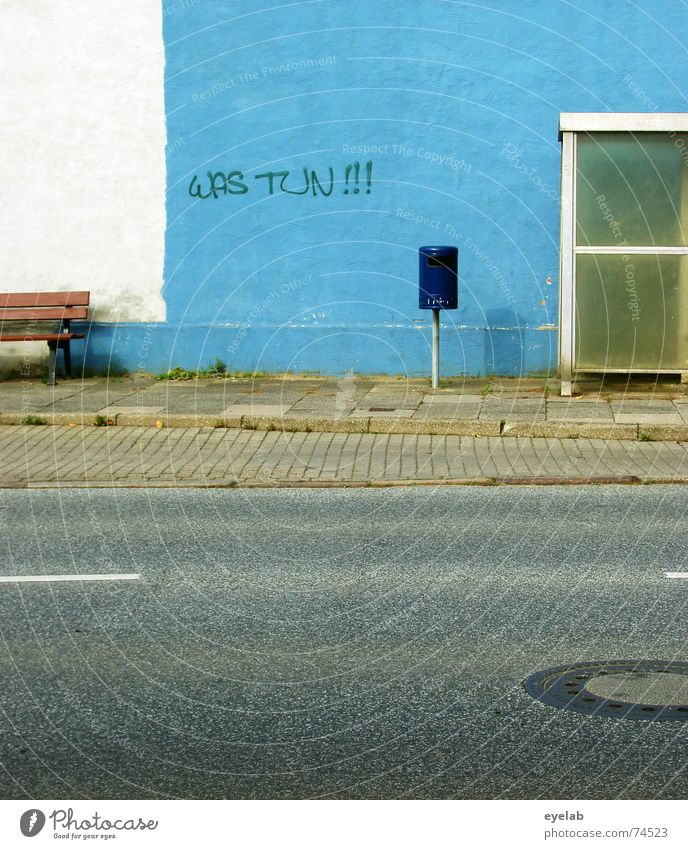 What to do! Wall (building) White Trash Grunge Station Gully Sidewalk Gray Town Stripe Blue Trashy Bus glass Street Bench grey Old Wall (barrier)