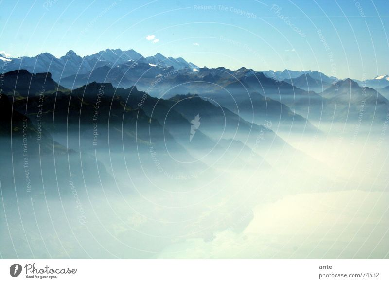 alpine fairy tale Fog Sea of fog Lake Reflection Brienzer Rothorn Fantastic Switzerland Nature Enchanting Vacation & Travel Panorama (View) Mountaineering Alps