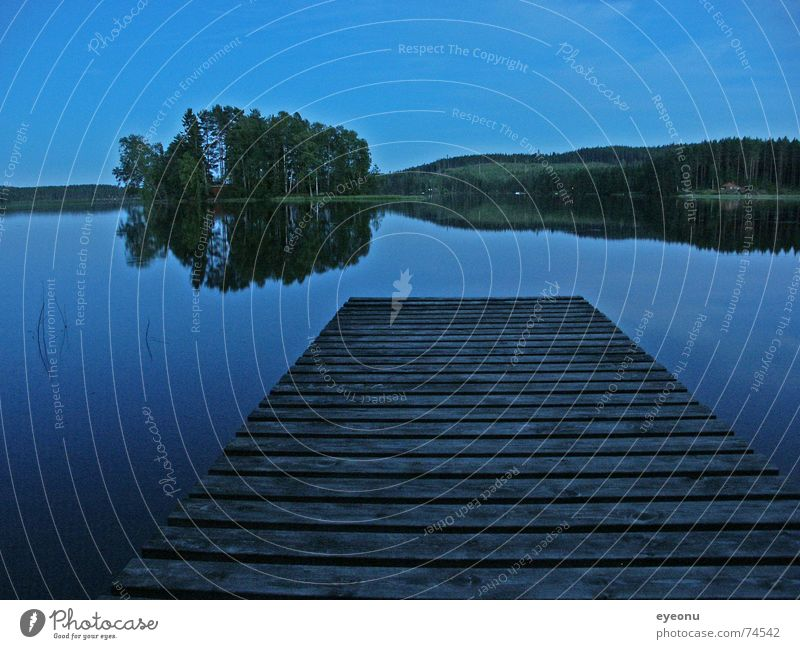 Water Calm Dark Lanes & trails Lake Island Night Footbridge Sweden Doze Slumber