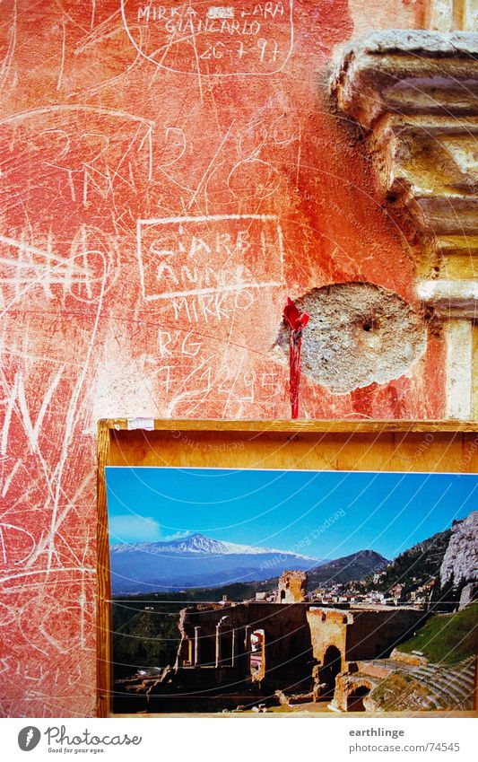 From Sicily with love Italy Taormina Mount Etna Vacation & Travel Red Scratch mark South Syracuse Summer Physics Souvenir Salutation Wanderlust Ancient Close-up