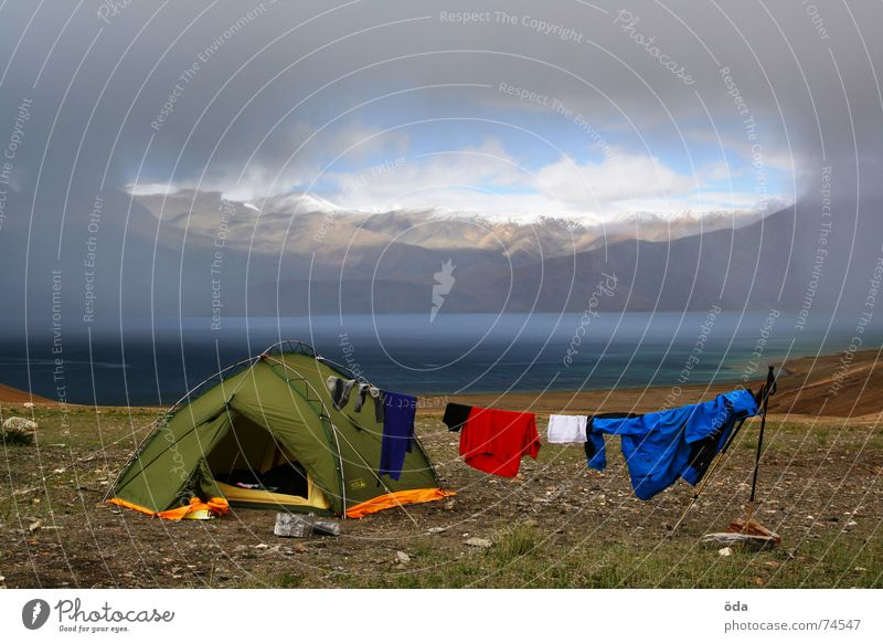 Home Sweet Home Tent Camping Clothing Dry Lake Snow mountain Gale Clouds Sleeping place India Mountain Storage base camp