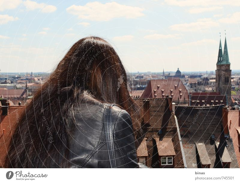 Above the Roofs Human being Youth (Young adults) Vacation & Travel City Young woman Joy 18 - 30 years Far-off places Adults Window Wall (building) Feminine Architecture Wall (barrier) Building Freedom
