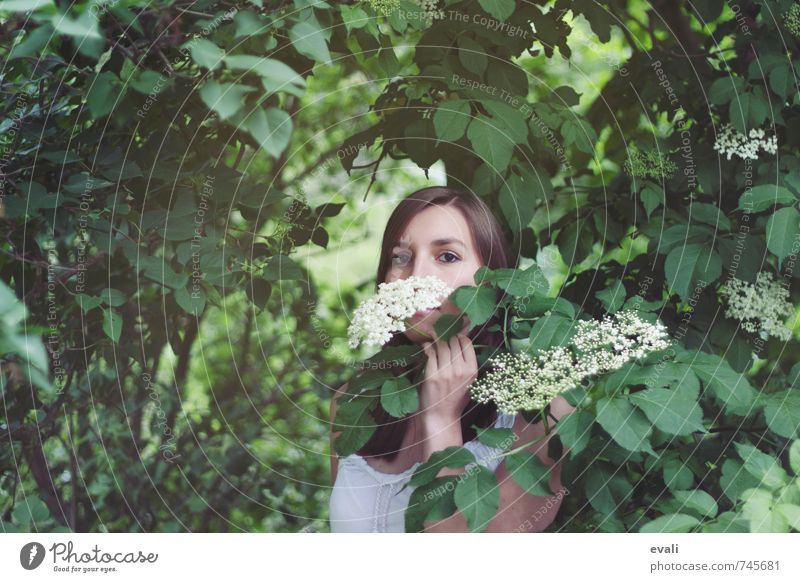 Human being Woman Child Youth (Young adults) Green Summer Young woman Hand Flower Landscape Leaf 18 - 30 years Adults Face Feminine Garden