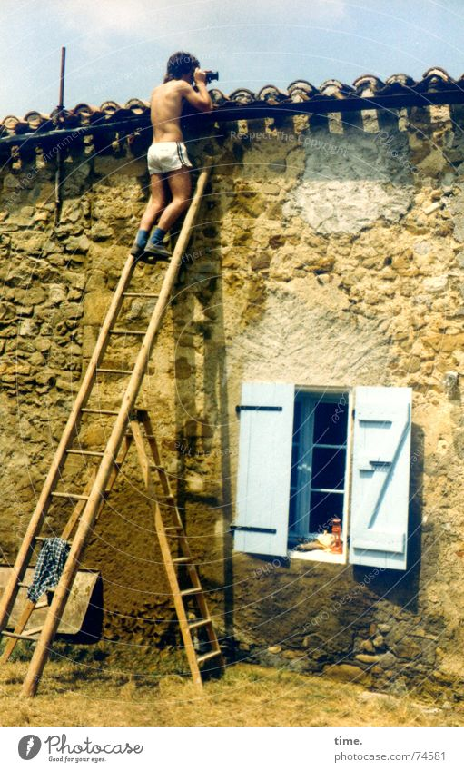 Man Summer Wall (building) Wall (barrier) Adults Perspective Dangerous Posture Roof Curiosity Ladder Photographer France Caution