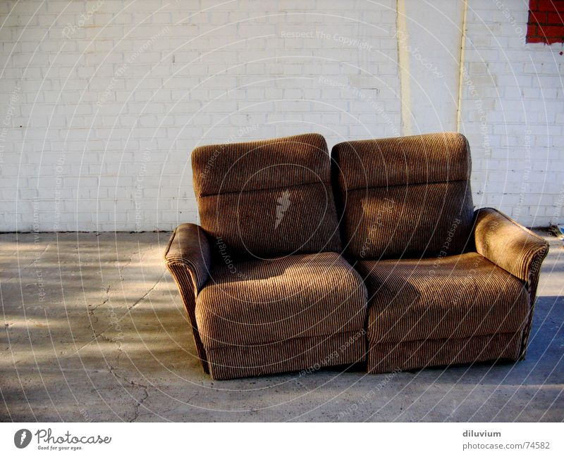come and take a seat Sofa Stripe Cozy Concrete Seating old brown Sit bricks Wall (barrier)