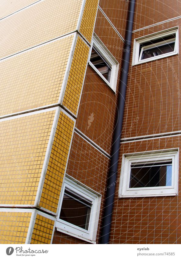 Uninformative Functionalism 2 Window Wall (building) Building House (Residential Structure) High-rise Social Yellow Brown White Hope Sixties Seventies Pattern