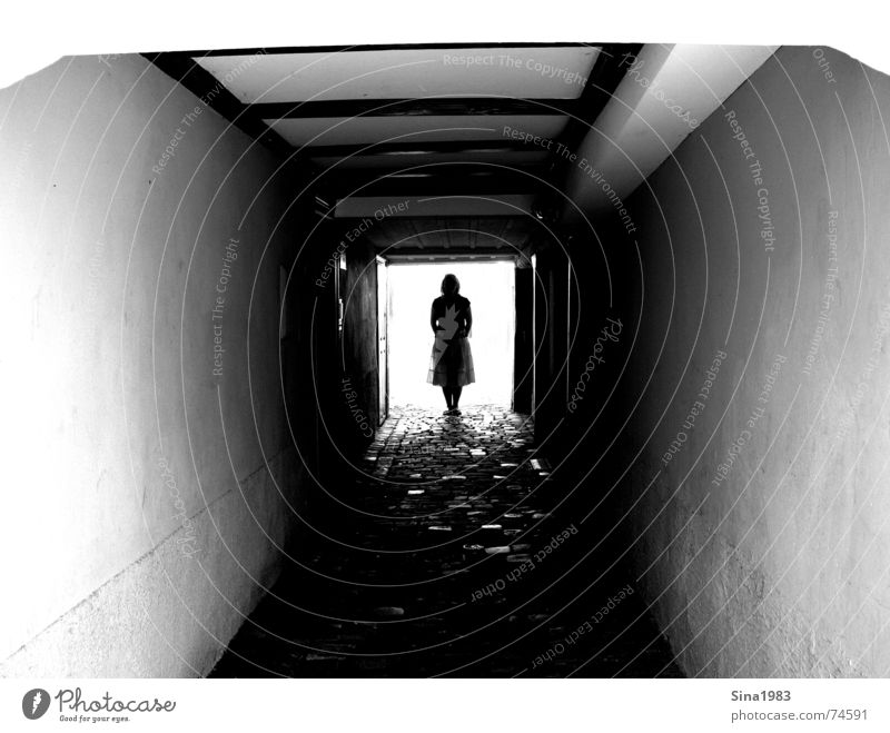 light at the end of the tunnel Tunnel Deep Dark Alley Feminine Woman Light Wood Wall (building) Black White Loneliness Think Exterior shot Bright Human being