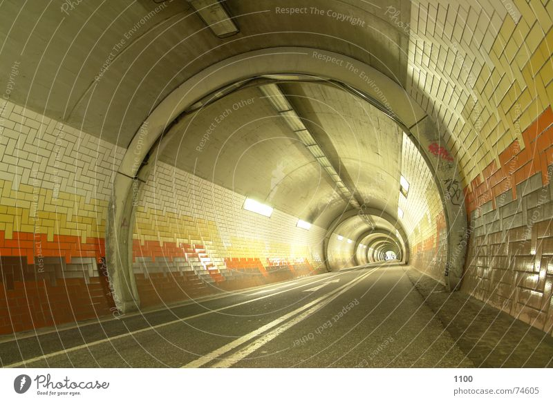 tunnel vision Tunnel Light Concrete Neon light Horizon Lighting Direction Forwards Passage Underground Underpass Bright Street Lanes & trails Tile Arrow