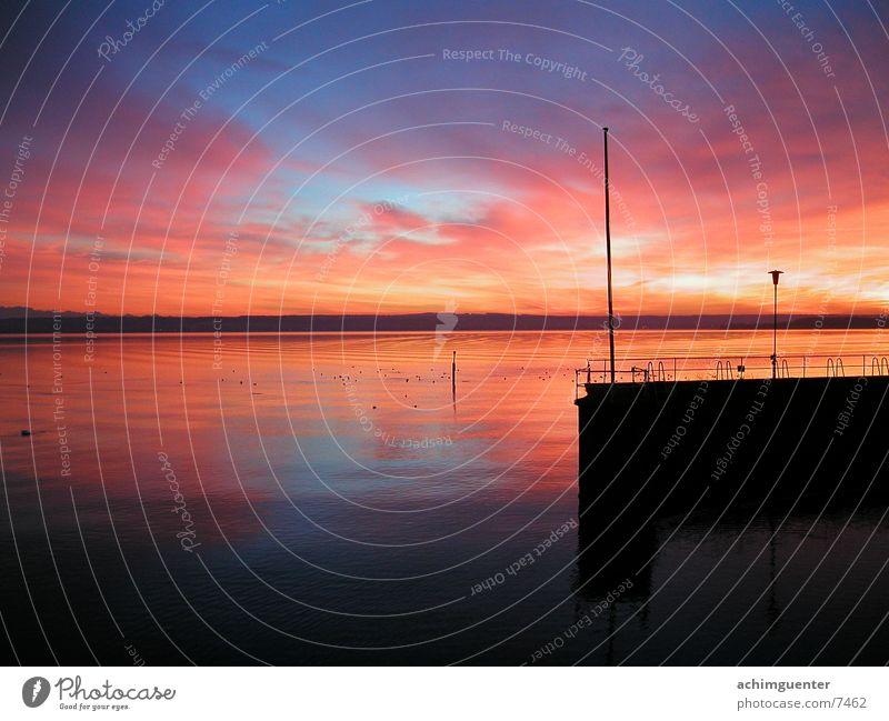 Water Sky Calm Lake Coast Horizon Romance Harbour Footbridge Dusk Lake Constance