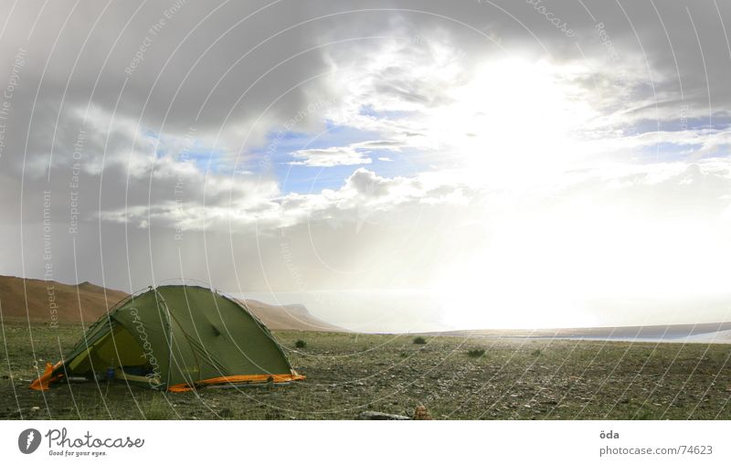 Apocalypse now #2 Tent Camping Snow mountain Gale Clouds Storage Sleeping place India Rain pull through the clouds sunbeam Sun apocalyptic Mountain base camp