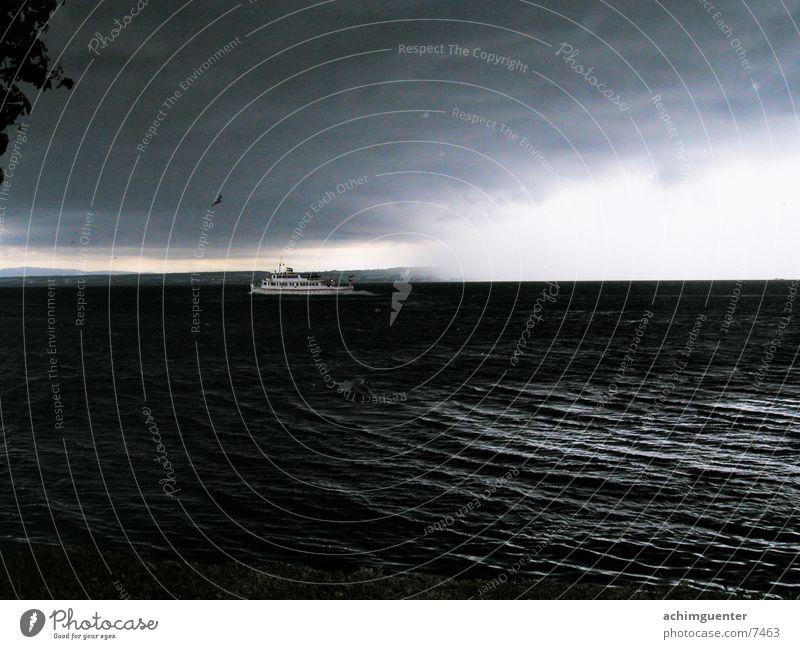 Water Black Clouds Dark Lake Rain Watercraft Horizon Dangerous Threat Gale Thunder and lightning Lake Constance Hail