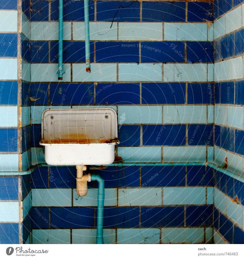 Blue Old Wall (building) Wall (barrier) Building Line Facade Living or residing Broken Transience Clean Bathroom Tile Past Decline Ruin