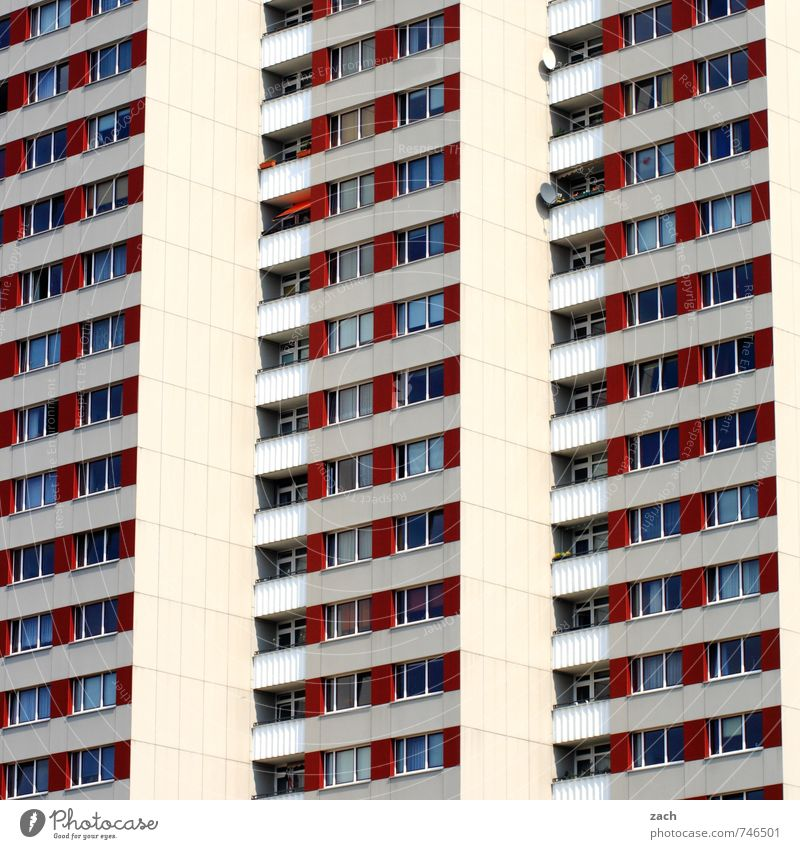 City White Loneliness Red House (Residential Structure) Window Wall (building) Architecture Wall (barrier) Building Line Facade Living or residing High-rise
