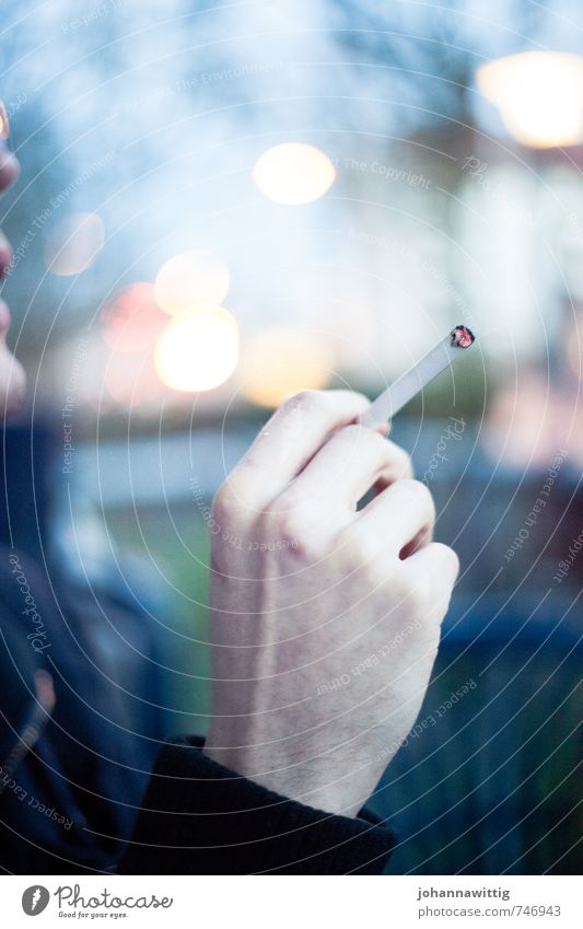 Balcony evening. Hand Fingers 18 - 30 years Youth (Young adults) Adults Think To talk Smoking Cigarette Blur Glow Cozy Breath Lung Cancer Cold Smoke To hold on