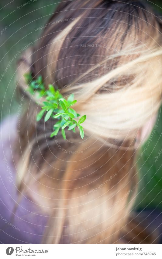 life's a song Blonde Long-haired Think To enjoy Authentic Exceptional Fresh Happy Bright Cute Beautiful Feminine Green Violet Contentment Serene Patient Calm