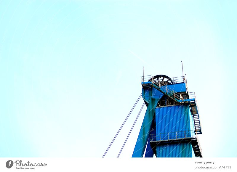 Off to heaven Mining Logistics Cold Turquoise Positive Elevator Large Blue Wire cable Metal Salt Mine Soft coal mining underground Upward Sky Perspective
