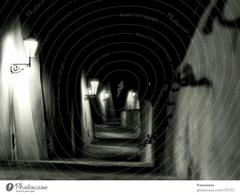 Lamp Dark Mountain Stairs Hill Creepy Lantern Street lighting Downward Descent Prague Homey Czech Republic Hradcany