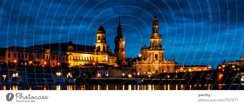 Dresden by Night Water Sky Clouds Night sky Town Old town Deserted Church Castle Manmade structures Building Architecture Tourist Attraction Navigation