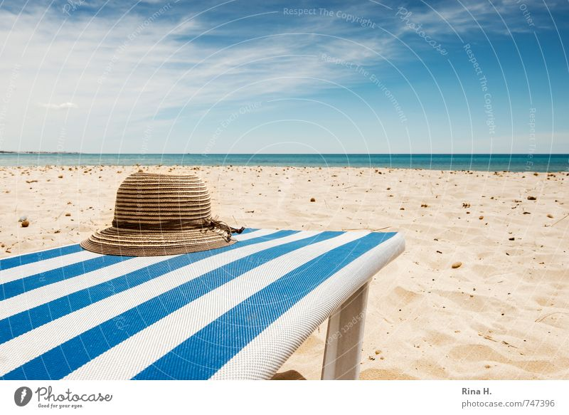 Sky Vacation & Travel Blue White Ocean Relaxation Clouds Beach Horizon Wait Tourism Beautiful weather Sunbathing Hat Summer vacation Deckchair