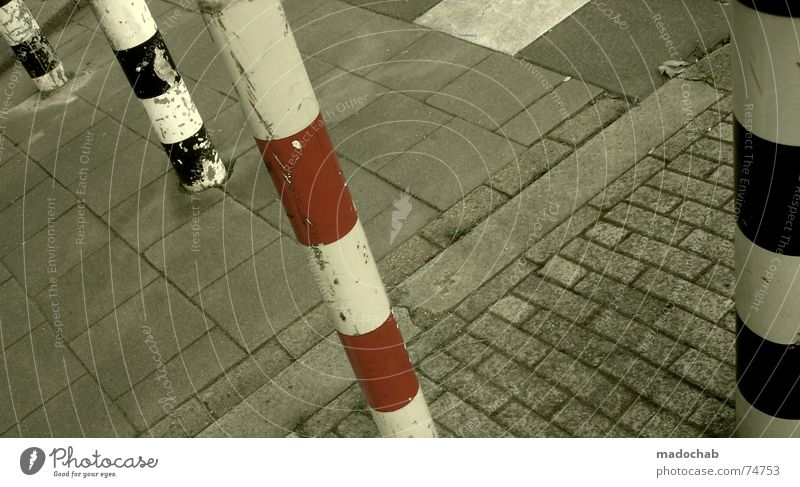 THE DIFFERENCE Town Asphalt Gray Under Pedestrian Transport Gloomy Pattern Background picture Structures and shapes Square Graphic White Gap Bollard Red Black