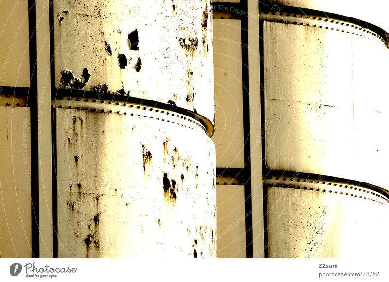 silo Silo Keg Industrial Photography White Broken Yellow Pattern Abstract Style 2 Side by side Attic Rust Trashy Structures and shapes Sun