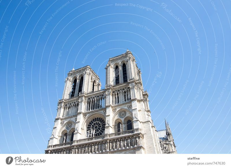 Around the World: Paris Church Belief Religion and faith Notre Dame Beautiful weather Cloudless sky Colour photo Deserted Copy Space left Copy Space right
