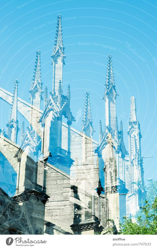 Nonotre Dame Paris Tall Notre Dame Double exposure Beautiful weather Cloudless sky Colour photo Exterior shot