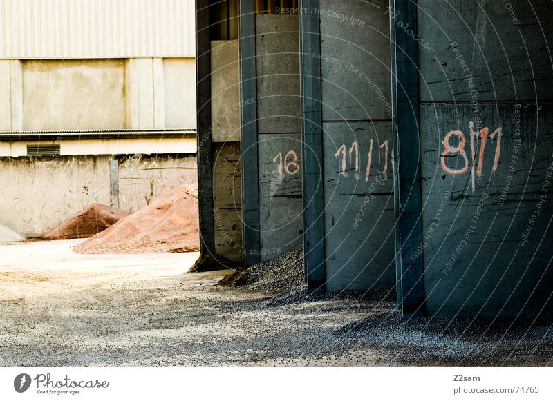 Gate 1 2 or 3 Industrial Photography Heap Wall (building) 8 Garage Side by side Red Sand Stone Digits and numbers 11 Shadow light Structures and shapes Colour