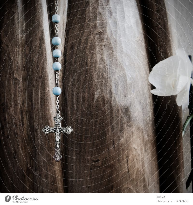 Magnificat anima mea Dominum Flower Blossom Wood Glass Metal Sign Christian cross Crucifix Jesus Christ Rosary Phylactery Pearl Pearl necklace Blossoming Hang